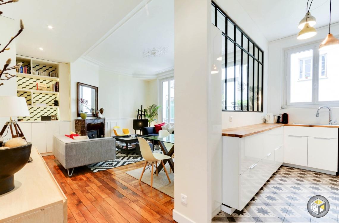 Cuisine salon appartement rénovation décoration
